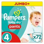 Pampers Baby-Dry Pants Size 4 Jumbo Box Nappies 72 per pack