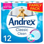 Andrex Classic Clean Family Pack 12 Rolls